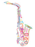 Stylized saxophone. Illustration of a saxophone over white stock illustration