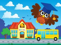 Stylized school owl theme image  Royalty Free Stock Photo