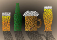 Stylized Scribble beer Stock Images