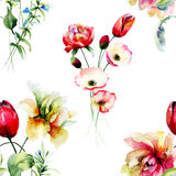 Stylized seamless background with wild flowers Royalty Free Stock Images