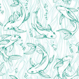 Stylized seamless fishes. Ornamental line art hand drawing. Decorative vector pattern on white background Royalty Free Stock Photo
