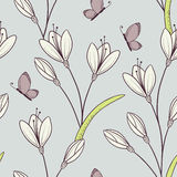 Stylized seamless pattern with flowers and butterfly. Outline spring bakground in vector Stock Image