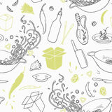 Stylized seamless pattern with hand drawn wok restaurant elements. Hipster background Royalty Free Stock Photos