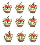 Stylized seamless pattern with muffins cupcake Royalty Free Stock Photography