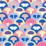 Stylized seamless pattern texture with mushrooms and butterflies Stock Photo