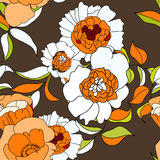 Stylized seamless wallpaper. With orange flowers Royalty Free Stock Photography