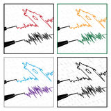 Stylized seismograms. Stylized vector illustration on the theme of seismic activity and seismograms Stock Photos