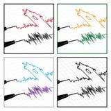 Stylized seismograms Stock Photos