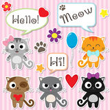 Stylized set of cute cartoon kittens Stock Image