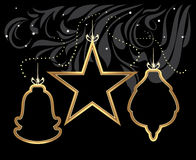Stylized shining Christmas toys on decorative black background Stock Photos