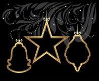 Stylized shining Christmas toys on decorative black background stock photos