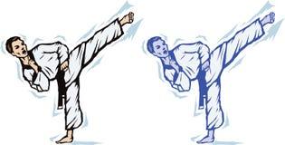 Stylized Sidekick. Illustration of a standing side kick Stock Images
