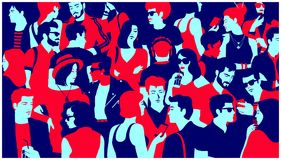Stylized silhouette of crowd of people mixed group hanging out, chatting and drinking minimal flat design vector illustration royalty free stock photos