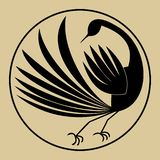 Stylized silhouette of mythical bird in circle, black drawing on beige background in the style of old yellowed paper. Vector illustration stock illustration
