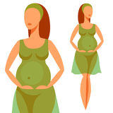 Stylized silhouette of pregnant woman. Illustration for websites, magazines and brochures Stock Photos