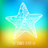 Stylized silhouette sea star, starfish on blurry background. Summer beach royalty free illustration