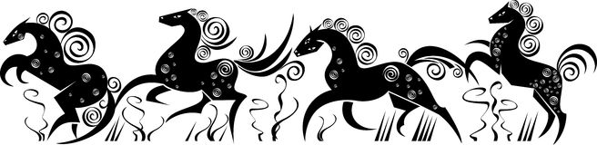 Stylized silhouettes of running horses Stock Images