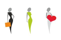 Stylized silhouettes of women. Icon set. Three poses of women's silhouettes in a symbol form. Vector illustration isolated on white Royalty Free Stock Photos