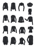 Stylized silhouettes of women's jackets Stock Photography