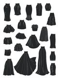 Stylized silhouettes of women's skirts royalty free illustration
