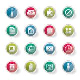Stylized Simple Business and Office Icons over colored background. Vector Icon Set Stock Photography