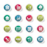 Stylized Simple Real Estate Icons over colored background stock illustration