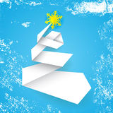 Stylized simple vector christmas tree made from paper stripe on blue background  Stock Photography