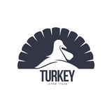 Stylized simplified turkey silhouette graphic logo template Royalty Free Stock Images