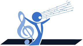 Stylized singer with treble clef isolated Royalty Free Stock Image