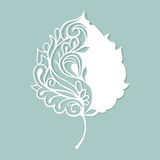 Stylized skeleton leaf. White leaf made of paper. Royalty Free Stock Photo