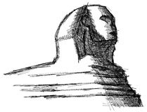 Stylized sketch of the sphinx isolated royalty free stock photography
