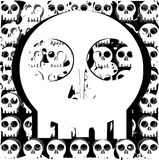 Stylized skull in black and white background Royalty Free Stock Photography