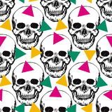 Stylized skulls pattern. Hand drawn swatch with Stock Photo