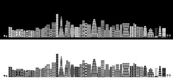 Stylized skyline. Vector illustration of a stylized pixel art skyline in black and white Royalty Free Stock Photo