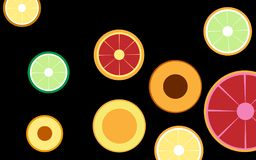Stylized sliced fruit slices isolate on black background vector. Royalty Free Stock Photography