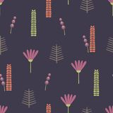 Stylized small flowers and plant elements. Vector seamless pattern Royalty Free Stock Photography