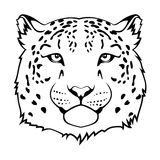 Jaguar head. Stylized snow leopard head  black illustration Stock Photo