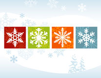 Stylized Snowflake Winter Back Stock Images