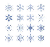 Stylized snowflakes. Collection of different stylized blue snowflakes Royalty Free Illustration