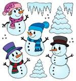 Stylized snowmen theme drawings 1. Eps10 vector illustration vector illustration