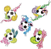 Stylized soccer balls with ribbons Royalty Free Stock Image