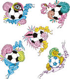 Stylized soccer balls with ribbons Stock Photos