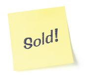 Stylized Sold Note. Sticky note indicating item is sold, isolated on white Stock Photos