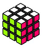 Stylized solved cube with white green and pink surfaces vector illustration