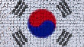 Stylized mosaic flag of South Korea made of pixels, 3D rendering. Stylized South Korean flag made of big pixels Royalty Free Stock Photography
