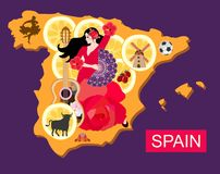 Stylized spain map with flamenco dancer girl, guitar, black bull, mill, football, pieces of lemon and toreador silhouette