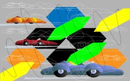Stylized sports cars. Contour graphics and geometric abstraction on a gray background Royalty Free Stock Image