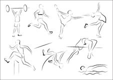 Stylized sportsmen - athletics. Stylized representatives of five athletics disciplines and two figure skating silhouettes Royalty Free Stock Photography
