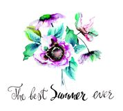 Stylized spring flowers with title the best summer ever Stock Photos