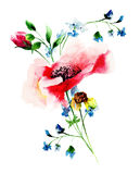 Stylized spring flowers. Watercolor illustration Stock Photo
